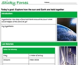 Gravity Sun Earth orbit lab hypothesis Powerpoint Jr. High 6 7 8 9th grade