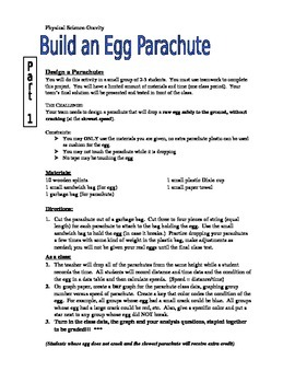 Gravity Unit - Build an egg parachute - Grade 8 Physical Science