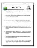 Gravity Worksheet - Newton's Law of Universal Gravitation