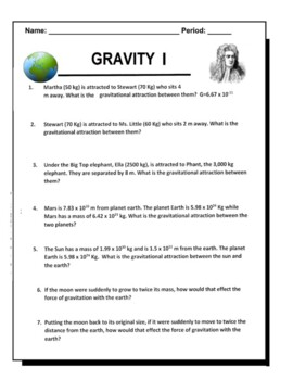 Law Of Universal Gravitation Worksheets & Teaching Resources ...