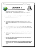 Gravity Worksheet I - Newton's Law of Universal Gravitation