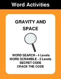 Gravity and Space - Word Search, Word Scramble,  Secret Co