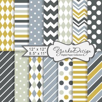 Gray And Moustard Geometric Digital Paper Set, 14 Digital Paper Sheets
