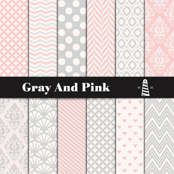 Gray And Pink Digital Paper, Grey Backgrounds, Pink Patterns, Instant Download