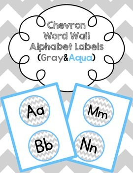 Chevron Word Wall  Alphabet Labels (Gray & Aqua)