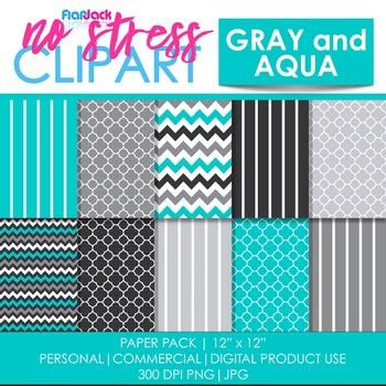 Gray Aqua Digital Papers