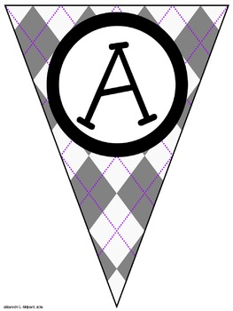 Gray Argyle Classroom Pennants and Bunting (Letters, Numbers, Punctuation)