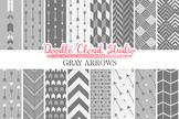 Gray Arrows digital paper, Grey Arrow patterns, tribal arc