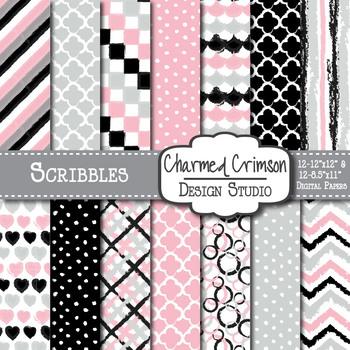 Gray, Black, and Pink Doodle Digital Paper 1167