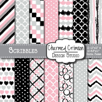 Gray, Black, and Pink Doodle Digital Paper 1167