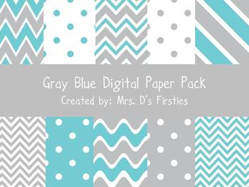 Gray Blue Digital Paper Pack