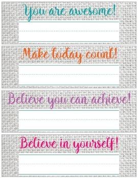 Gray Burlap Motivational Desk Name Tags