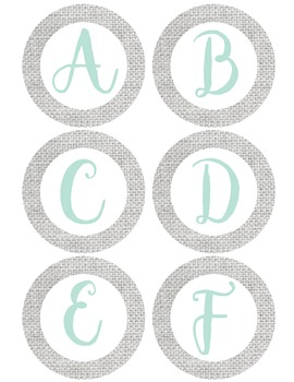 Gray Burlap Letters