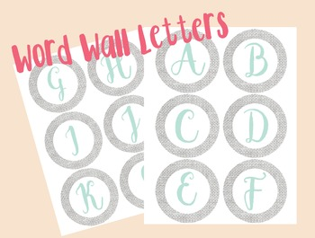 Gray Burlap Word Wall Letters