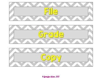 Gray Chevron 9x2 Drawer Labels