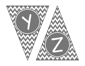 Gray Chevron Alphabet Banner Set (upper & lowercase, numbers 0-9)