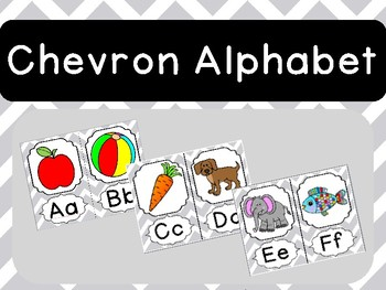Gray Chevron Alphabet Posters Nautical