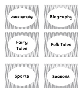 Gray Chevron Book Bin Labels
