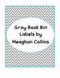 Gray Chevron Book Bin Labels
