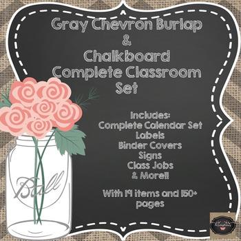 Gray Chevron Burlap & Chalkboard Classroom Set