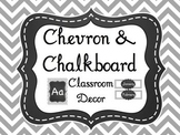 Gray Chevron & Chalkboard Classroom Decor (over 200 pages!) Editable Pages too!