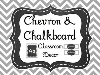 Gray Chevron & Chalkboard Classroom Decor (over 200 pages!