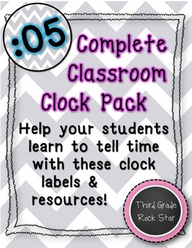 Classroom Clock Pack {Gray Chevron Theme} *Back to School*