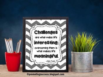 Chevron Classroom Decor Motivational Poster Mark Twain Inspirational Quote