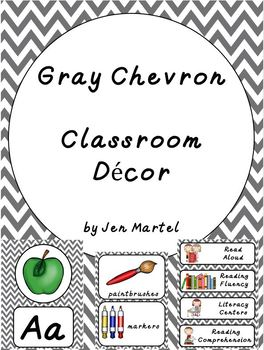 Gray Chevron Classroom Decor and Organization Pack in D'Nealian Font