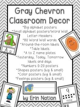 Gray Chevron Classroom Decor bundle