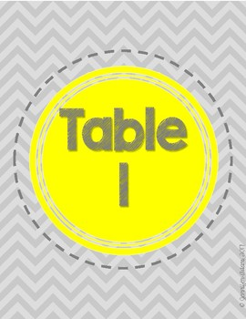 Gray Chevron Classroom Signs with Table Numbers, Centers, & Flexible Seating
