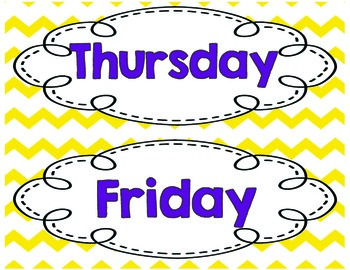 Gray Chevron Days of the Week and Months of the Year Yellow and Customizable