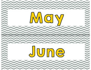 Gray Chevron Days of the Week and Months of the Year Yellow