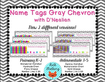 Gray Chevron Name Tags with D'Nealian Cursive
