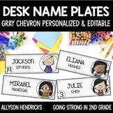 Gray Chevron EDITABLE Name/Desk Plates & Circle Labels