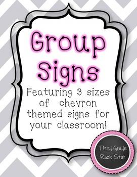 Group Signs {Gray Chevron Theme}