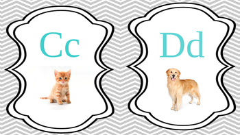 Teal-Gray-Chevron Alphabet Picture Cards
