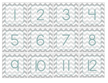Gray Chevron Months and Dates