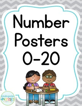 Gray Chevron Number Posters