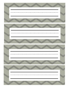 Gray Chevron Student Nameplates