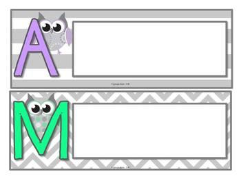 Gray Chevron and Dot Owl Themed CHAMPS Display