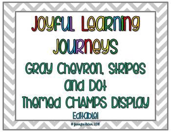 Gray Chevron and Dot Themed Champs Display