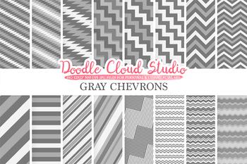 Gray Chevron digital paper, Chevron and Stripes Grey pattern, tribal chevron