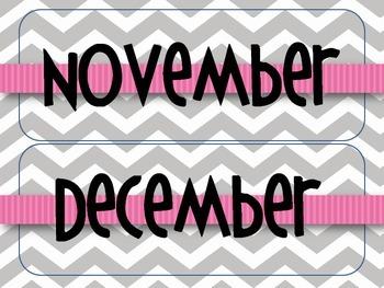 Gray Chevron with Pink Classroom Calendar Set