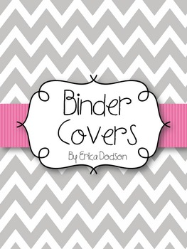 Gray Chevron with Pink Teacher Binder Covers and Spines *E