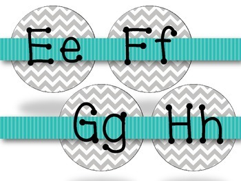 Gray Chevron with Teal Alphabet Word Wall Letters {Dotty Font}