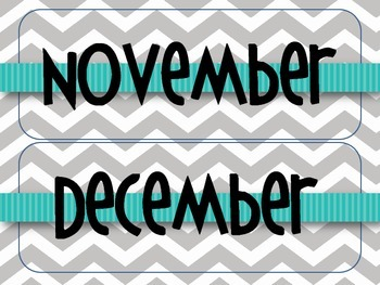 Gray Chevron with Teal Classroom Calendar Set
