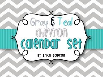Gray Chevron with Teal Classroom Calendar Set