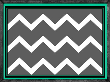Gray Chevron with Teal PowerPoint Template with Chalkboard Frame