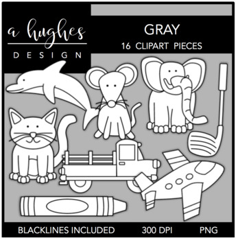 Gray Color Clipart {A Hughes Design}